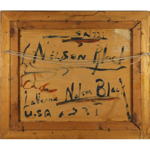 2028 - Native American's, American school oil on board, bearing an inscription Lavrna Nelson Black verso, m...