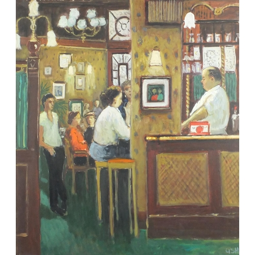 2026 - Figures in a pub, oil on canvas, bearing a monogram ASH, mounted and framed, 83cm x 74cm...