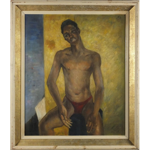 2025 - Portrait of a seated nude male, African school oil on board, bearing a monogram DG and inscription v...