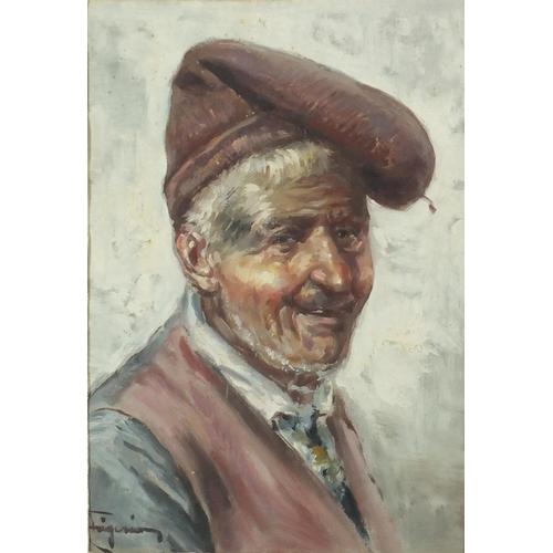 832 - Raffaele Frigerio - Portrait of an elderly man, oil, inscribed verso, mounted and framed, 25cm x 17....