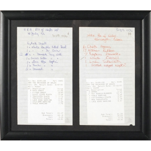 122 - Two HRH The Princess of Wales laundry receipts from Kensington Palace, each dated 1993, framed, each...