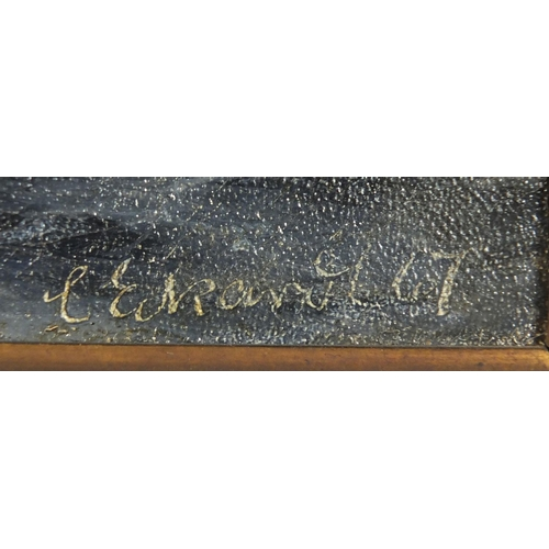 821 - Christian Eckardt 1867 - Ships on stormy sea before a lighthouse, 19th century oil on canvas, framed...