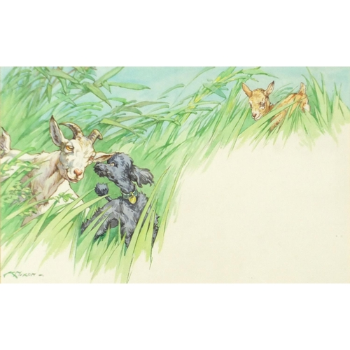 849 - Kathleen Irene (Kay) Nixon - Poodle and goats, signed watercolour, mounted and framed, 36.cm x 23cm...