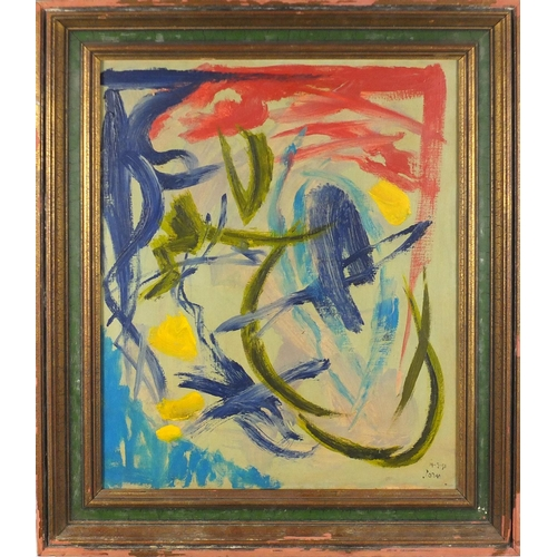 858 - Abstract composition, oil on canvas, bearing a signature John, mounted and framed, 54cm x 44cm...