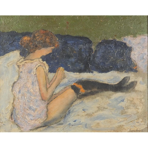 852 - Young female resting on a bed, oil on canvas, bearing an indistinct signature possibly Albert Ardis ...