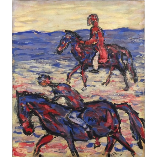 835 - Horse riders by the sea, oil on canvas, bearing an indistinct signature and inscription Benner verso...