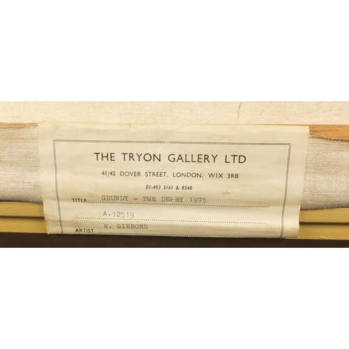 823 - Ruth Gibbons 1975 - Grundy, the 1975 derby, signed oil on canvas, The Tryon Gallery label verso, mou...