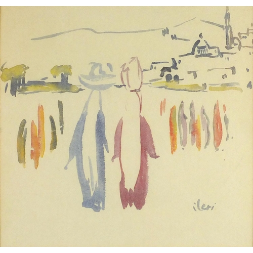 831 - Boats on water, Turkish school watercolour, bearing a signature Ileri, mounted and framed, 23.5cm x ...
