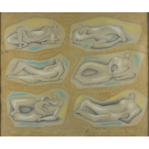 845 - Manner of Henry Moore - Surreal nude figures, pencil and pastel, framed, 60cm x 50cm...