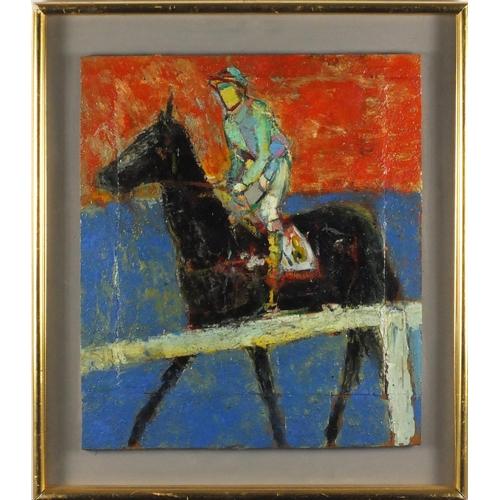 825 - Attributed to Elisabeth Frink - Jockey on horseback, oil on wood panel, inscribed verso, framed, 48....