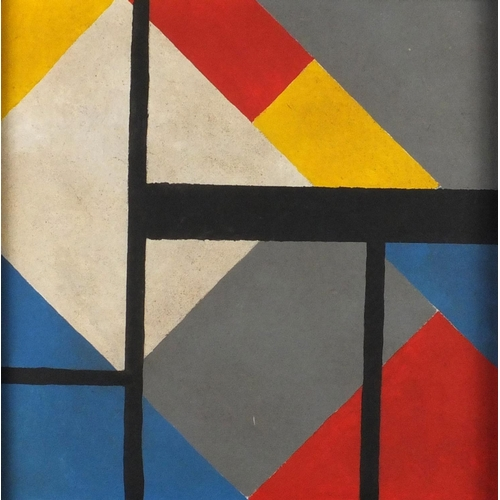868 - Abstract composition, geometric shapes, oil on board, bearing a label verso, housed in a painted fra...