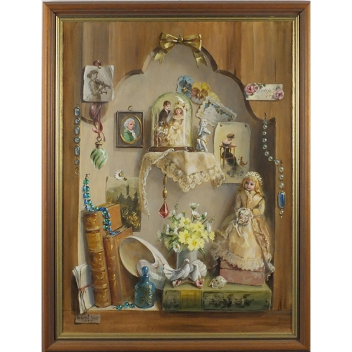 870 - Deborah Jones - Memories of a Happy Marriage, oil on canvas, printed label and The Whitgift Gallerie...