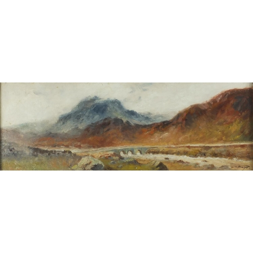 841 - Viaduct over water before mountains, English school oil, bearing a signature W M Frazer, mounted and...