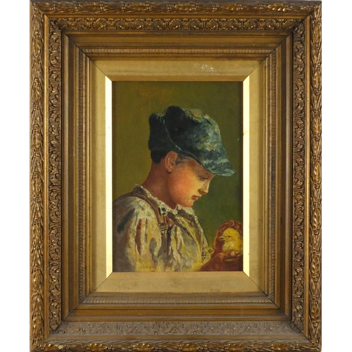 834 - Young boy holding a chick, 19th century oil on canvas, mounted and framed, 24cm x 16.5cm...