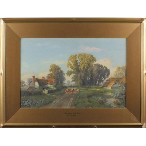 843 - Howard Walford - The Manor Farm Oxton, Watercolour, mounted and framed, 53cm x 34.5cm...