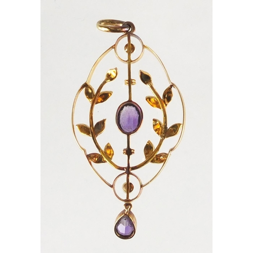 680 - Art Nouveau 15ct gold amethyst and seed pearl pendant, 4.5cm in length, approximate weight 3.7g...