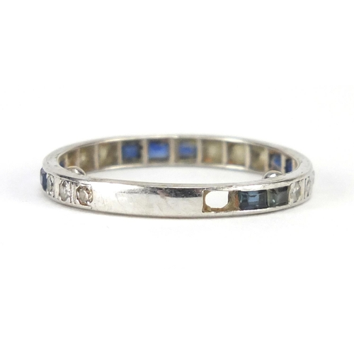 675 - Unmarked platinum sapphire and diamond eternity ring, size M, approximate weight 2.7g...