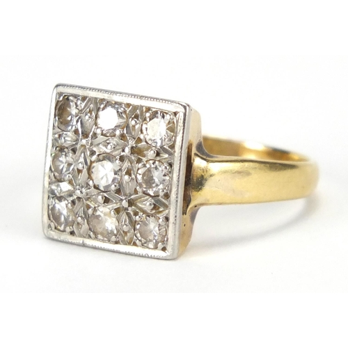 671 - 18ct gold and platinum diamond square cluster ring, size O, approximate weight 5.7g, housed in a Cha...