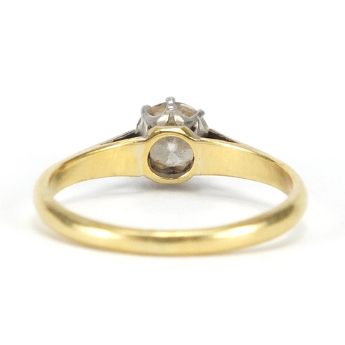 659 - 18ct gold diamond solitaire ring, size L, approximate weight 2.1g...