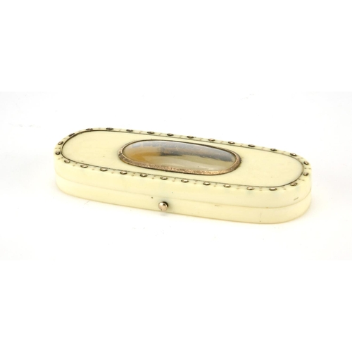 46 - George lll ivory and gold coloured pique work toothpick box, 9.5cm wide...