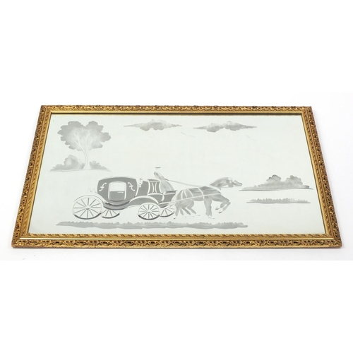 25 - Rectangular wall hanging mirror etched with horse and cart, gilt framed, 89cm x 58cm...