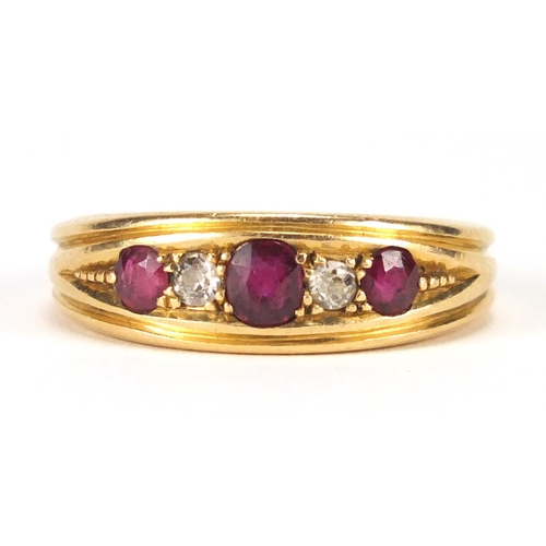 645 - 18ct gold ruby and diamond five stone ring, J G, Chester 1909, size Q, approximate weight 7.4g...