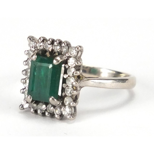 678 - 18ct white gold emerald and diamond ring, size M, approximate weight 4.9g...