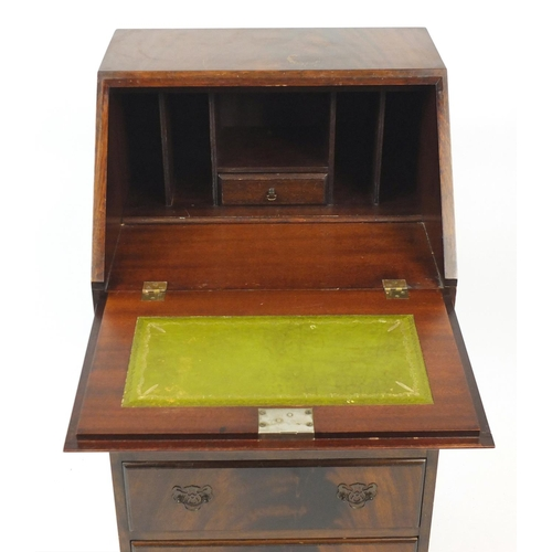 12 - Slim mahogany bureau, fitted with a fall and fitted interior above four drawers, 99cm H x 51cm W x 4...