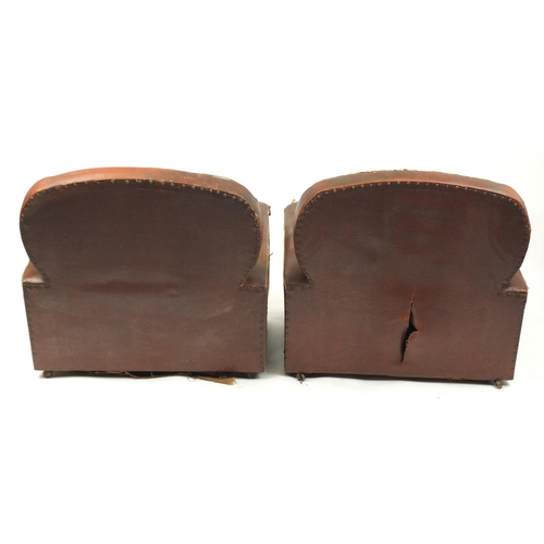 2 - Pair of Art Deco cloud back club chairs, with brown faux leather upholstery...