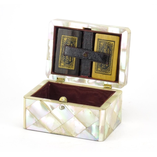 38 - Victorian mother of pearl rectangular card box with silver mounts, the hinged lid opening to reveal ...
