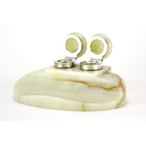 23 - Art Deco onyx twin desk inkwell with silver mounts, the silver mounts London 1919, 23cm wide...