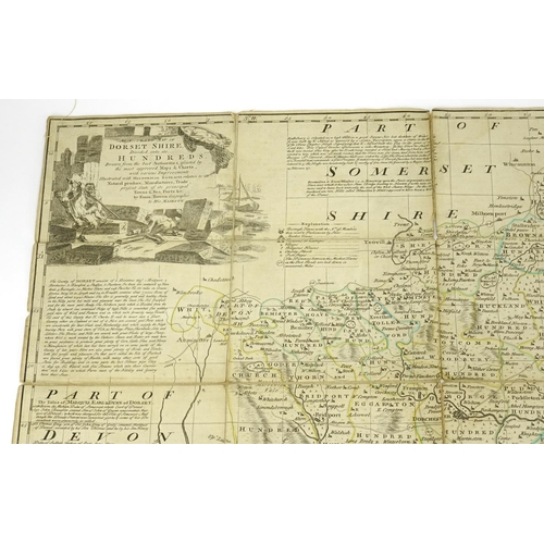 128 - Antique hand coloured canvas backed map of Dorsetshire by Emmanuel Bowen, with slip case, 70.5cm x 5...