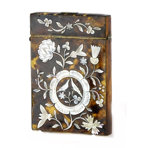41 - Victorian tortoiseshell and mother of pearl calling card case, decorated with birds and flowers amon...
