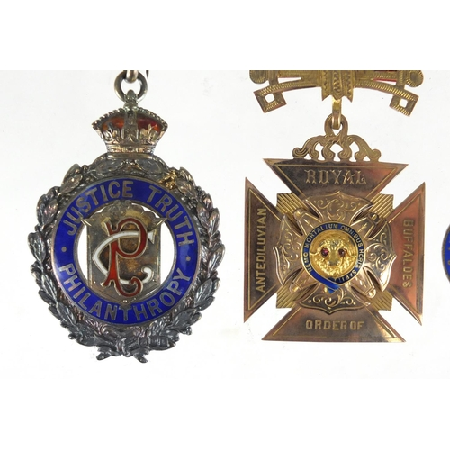 160 - Two Royal Order of Buffaloes jewels and a pip relating to A J Radford, including a 9ct gold and enam...
