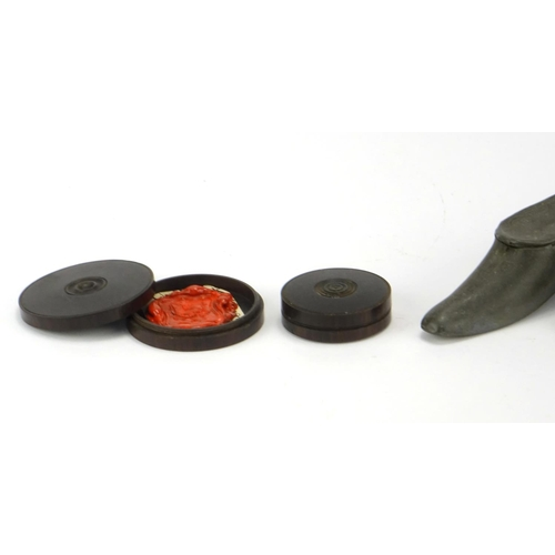 45 - Antique objects including treen and lead shoe design snuff boxes and a wax seal the largest 8cm in l...