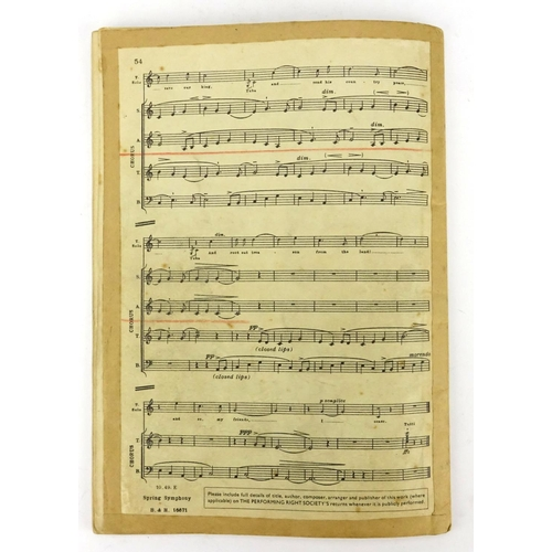 125 - Boosey & Hawkes Spring Symphony Choral Score, signed by Benjamin Britten and Edward Van Beinum...