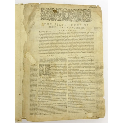 135 - Early 17th century leather bound Holy Bible, printed by Robert Barker London 1611...
