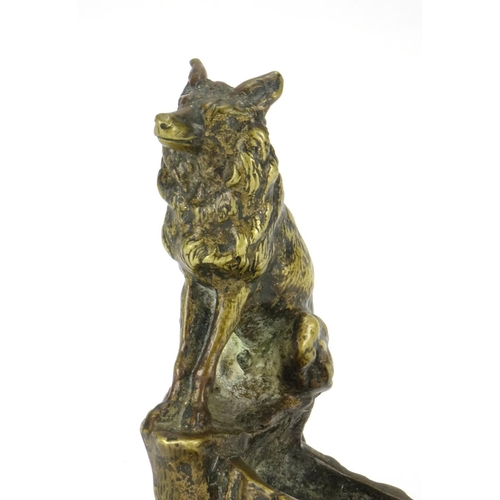 14 - Patinated bronze inkwell mounted with a wolf, impressed F Pautrot, 11.5cm high...