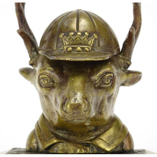 18 - Novelty Victorian bronze deer design inkwell wearing a jockeys cap, 11cm high...