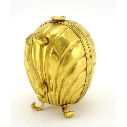 19 - 19th century continental gilt brass wax Jack Bougie box, 12cm high...