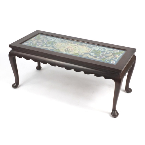 34 - Rectangular mahogany coffee table with needlepoint top, raised on cabriole legs, 46cm H x 108cm W x ...