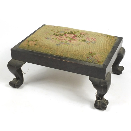 36 - Victorian mahogany stool, with needlepoint stuff over seat and paw feet, 22cm H x 45cm W x 33cm D...