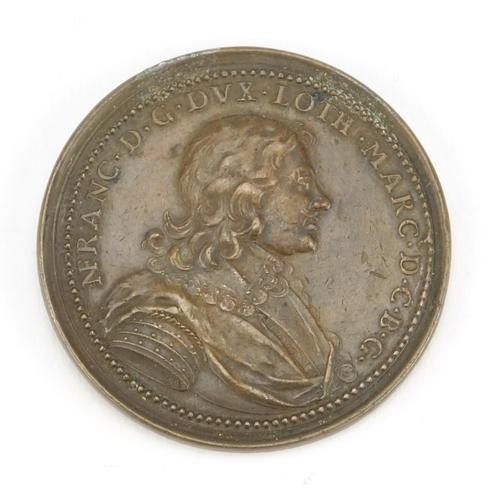 159 - Antique French bronze Duchess De Lorraine medal, 4.5cm in diameter...
