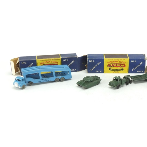 345 - Three Matchbox series by Lesney die cast vehicles and one other...