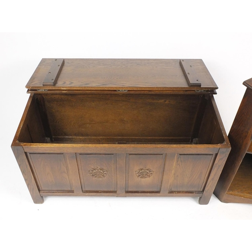 8 - Oak blanket box and corner cupboard carved with a Tudor rose, the corner cupboard with Webber Furnit...