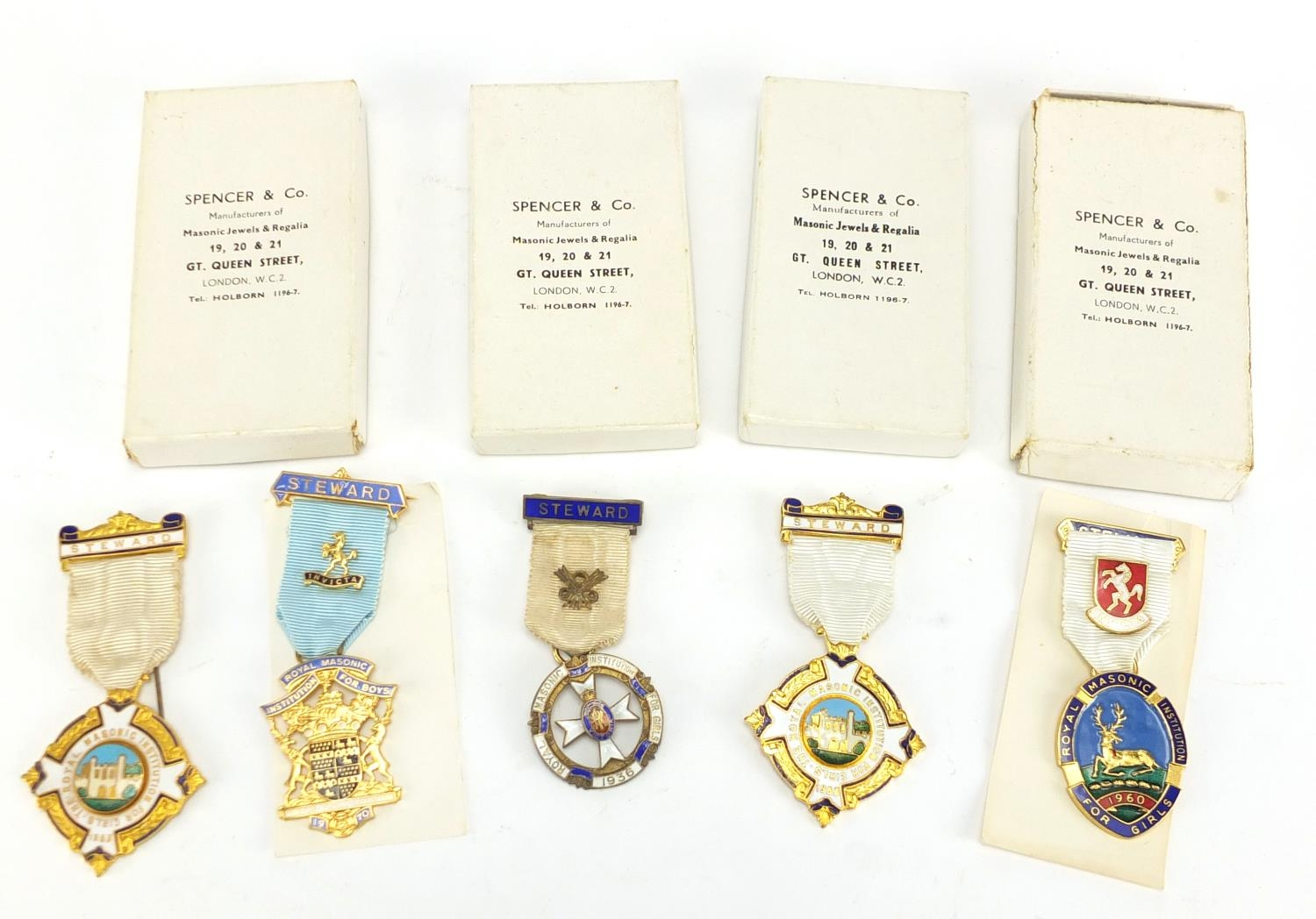 Five Masonic badges including a silver and enamel 1936 Royal