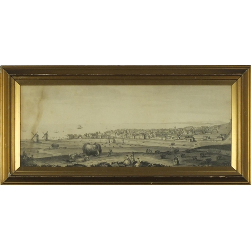 847 - **WITHDRAWN ** View of Brighton 1765, print on paper, inscribed verso, mounted and framed, 54.5cm x ...