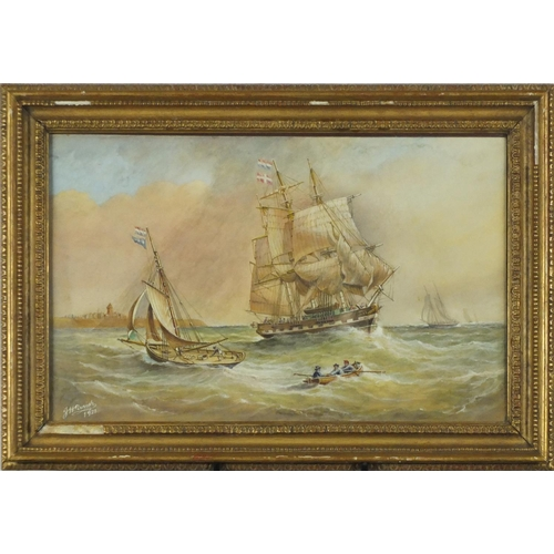 842 - J H Parish 1921 - Ships on stormy seas outside of a harbour, heightened watercolour, framed, 46.5cm ...
