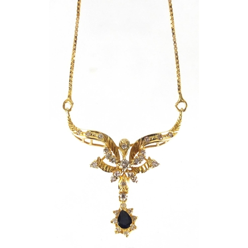 674 - 17ct gold diamond and tear drop sapphire necklace, 40cm in length, approximate weight 6.8g...