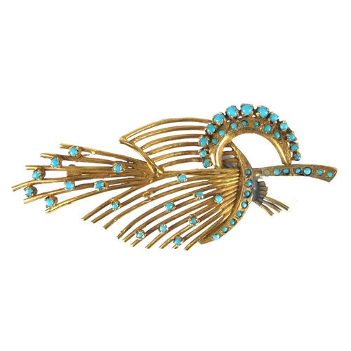 682 - Unmarked gold turquoise floral spray brooch, 7cm in length, approximate weight 8.2g...